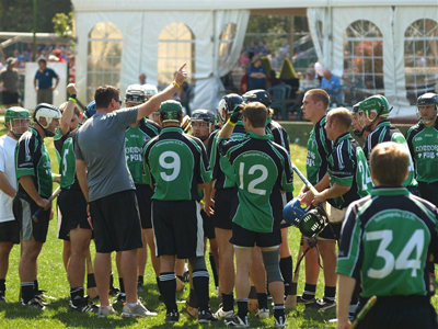 One of Indy Hurling Club teams takes a break at the North American Playoffs last September in Canton, Boston.
