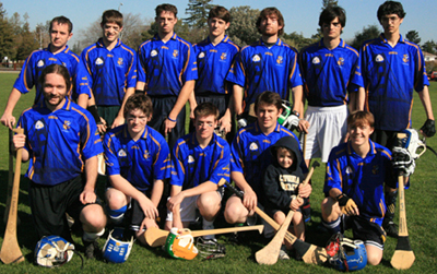 Cal Bears 2009. Back Row: Sam Crenshaw, Ryan Peek, Ian Monaghan, Nick Nordahl, Kevin Heiken, Joshua Roberts, Daniel Smith. Front Row: Kyle Fischer, Fionnán O'Connor, Conor Molumby, Liam Reidy, Shane Reidy (Mascot), and Zach Streng (Missing-Corey Busay). (photo San Fran GAA).