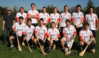 The Standford Hurling Team at the first ever US Colleges Hurling Match, Jan 31, 2009 in Palo Alto which their cross bay rivals Cal Berkeley won. Back Row: Des Nolan (sponsor), Dariusz Wodziak, David Kirk, Ryan Goetz, Chris Stucky, Sam Svoboda, Ben Arevalo, Eoin Buckley. Front Row: Marty Casey, Ben Picozzi, Mark Jennings, Angelia Wang, John Mulrow, Roscoe Wetlaufer. (photo San Fran GAA)