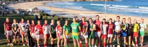 NSW-GAA-club-captains-at-a-photo-shoot-for-promotion-of-the-forthcoming-NSW-Championship-with-Sydneys-famous-Bondi-Beach-in-the-background-Photo-courtesy-of-NSW-GAA-Facebook.