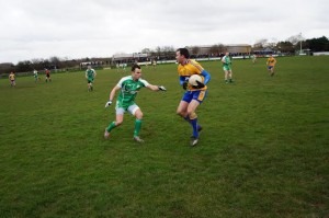 Action from yesterday's NFL game between victor's Clare and London at Ruislip. (Photo by London GAA PRO Declan Flanagan).
