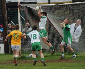 Close, but London clear their lines v Leitrim in the final round of the Allianz Div 4 Football League at Ruislip, London. (Photo courtesy of London GAA).