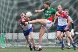 Mayo's Aidan O'Shea is pressured by New York players in last Sunday's Connacht Football Championship quarter Final at Gaelic Park, Bronx in New York. (Photo by Peter Marney).