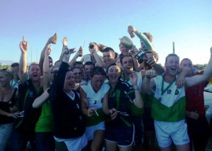 St. Pat's teand and supporterts celebrate the 2014 NSW Hurling Championship victory. Photo; Courtesy of Craobh Phadraigh Gaa Sydney